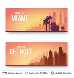 Miami and detroit famous city scapes vector