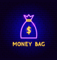 money bag neon label vector image