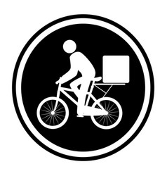 Monochrome circular emblem with delivery man in vector