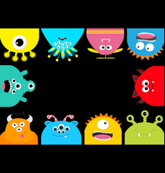 Monster frame cute cartoon scary character set vector