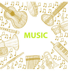 Musical instruments template in hand drawn style vector