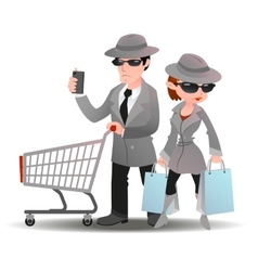 Mystery shopper man with shopping cart phone and vector