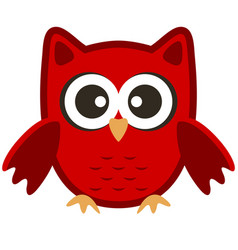 Owl funny stylized icon symbol brown red colors vector