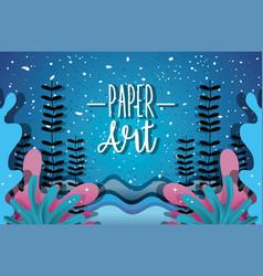 paper art undersea vector image
