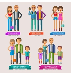 people logo design template happy family vector image