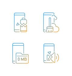 phone errors gradient linear icons set vector image