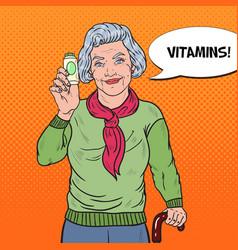 Pop art senior happy woman with pills health care vector