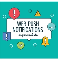 Push notifications elements linear icons set with vector image