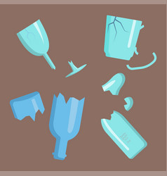 Recycling garbage elements trash broken glass vector