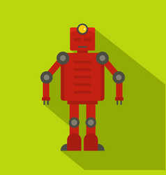 Red robot icon flat style vector