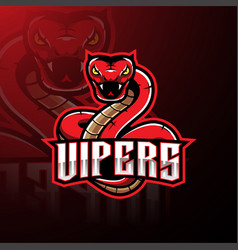 Red viper snake mascot logo design vector