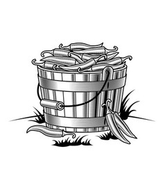 Retro bucket of chili peppers black and white vector