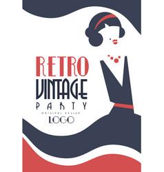 retro vintage party logo design element vector image