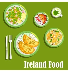 Rich meaty dishes of irish cuisine flat icon vector