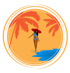 Round retro poster with palm trees sea girl and vector