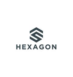 S as sa sf or fs hexagon logo vector