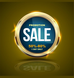 Sale banner gold circle for promotion advertising vector