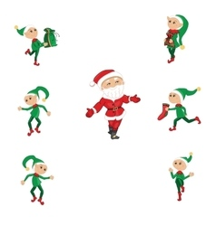 Santa and Christmas elfs on white vector image