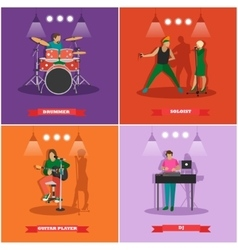 Set of musician and singers Music rock vector