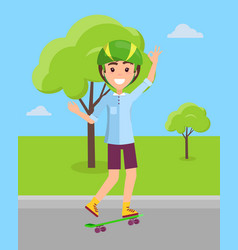skateboarder in helmet riding on skateboard vector image
