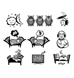 Sleeping signs set vector image