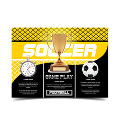 soccer poster design football ball flyer concept vector image