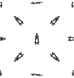 space shuttle pattern seamless black vector image