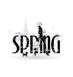 spring fashion girls in sketch-style in paris vector image