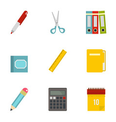 stationery related icon set flat style vector image