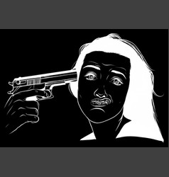 Suicide girl handgun icon vector