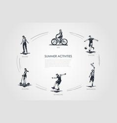 summer activities - bike soccer badminton vector image