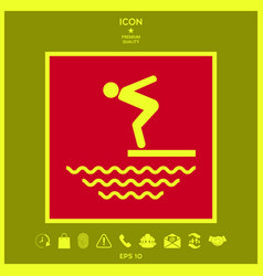 Swimmer on a springboard jumping into the water vector