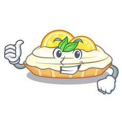 Thumbs up cartoon lemon cake with lemon slice vector