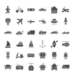 Transport solid web icons vector