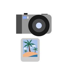 Travel photo camera summer icon design vector
