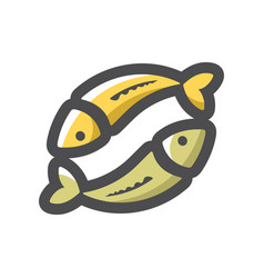 two fishes couple icon cartoon vector image