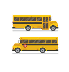 Two school bus side views vector