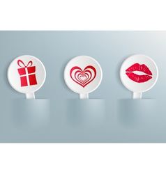 Valentines Day symbols on the labels vector