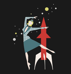 vintage card with space with rocket and vector image