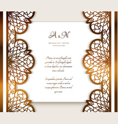 vintage gold frame with ornamental lace borders vector image