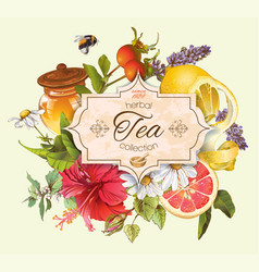 Vintage herbal tea banner vector