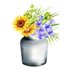 Watercolor ceramic vase with sunflowers morning vector