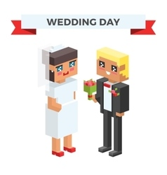 Wedding 3d couples cartoon style vector image