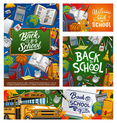 welcome back to school educational supplies vector image