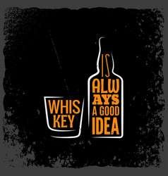 whiskey is always a good idea lettering background vector image
