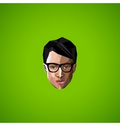With an asian guy face with glasses in polygonal vector