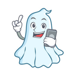 With phone cute ghost character cartoon vector