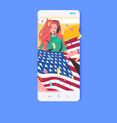 woman holding usa flag 4th july american vector image
