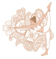 women silhouette standing bow pulling yoga pose vector image