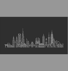 World skyline in outline style vector